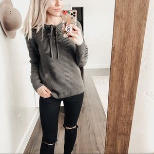 Elodie Nordstrom | Olive Lace Up Knit Sweater